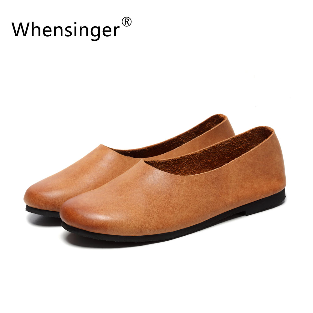 ФОТО Whensinger - 2017 Woman Spring Female Loafers Cow Leather Shoes Plain Elegant Fashion Style F009-1
