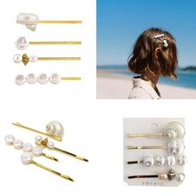 4Pcs/Set Summer Women Girl Colored Imitation Pearl Hairpin Ocean Seashell Conch Metal Alloy Hair Clip One Word Straight Barrette