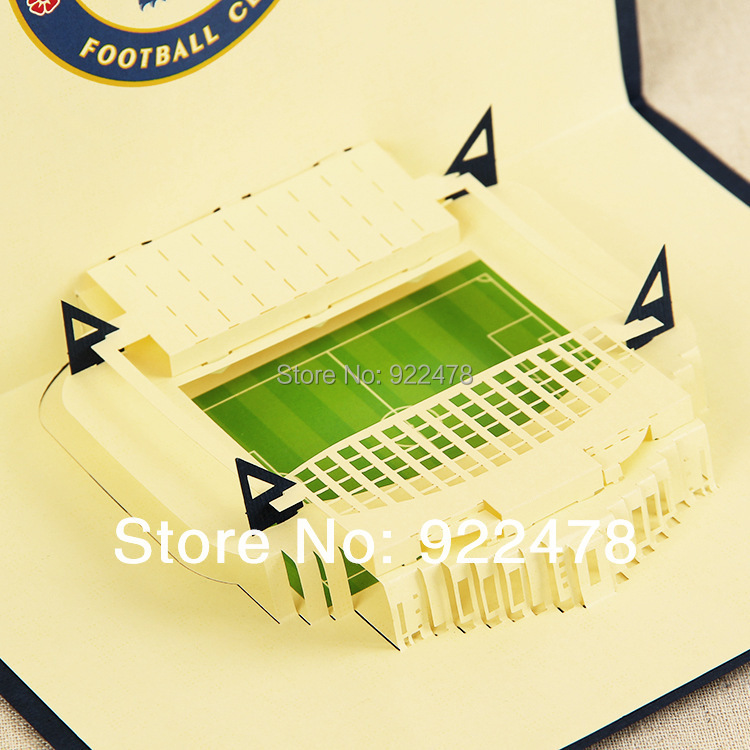 Online Shop New 3D Chelsea football fields Handmade paper Greeting – Chelsea Birthday Card