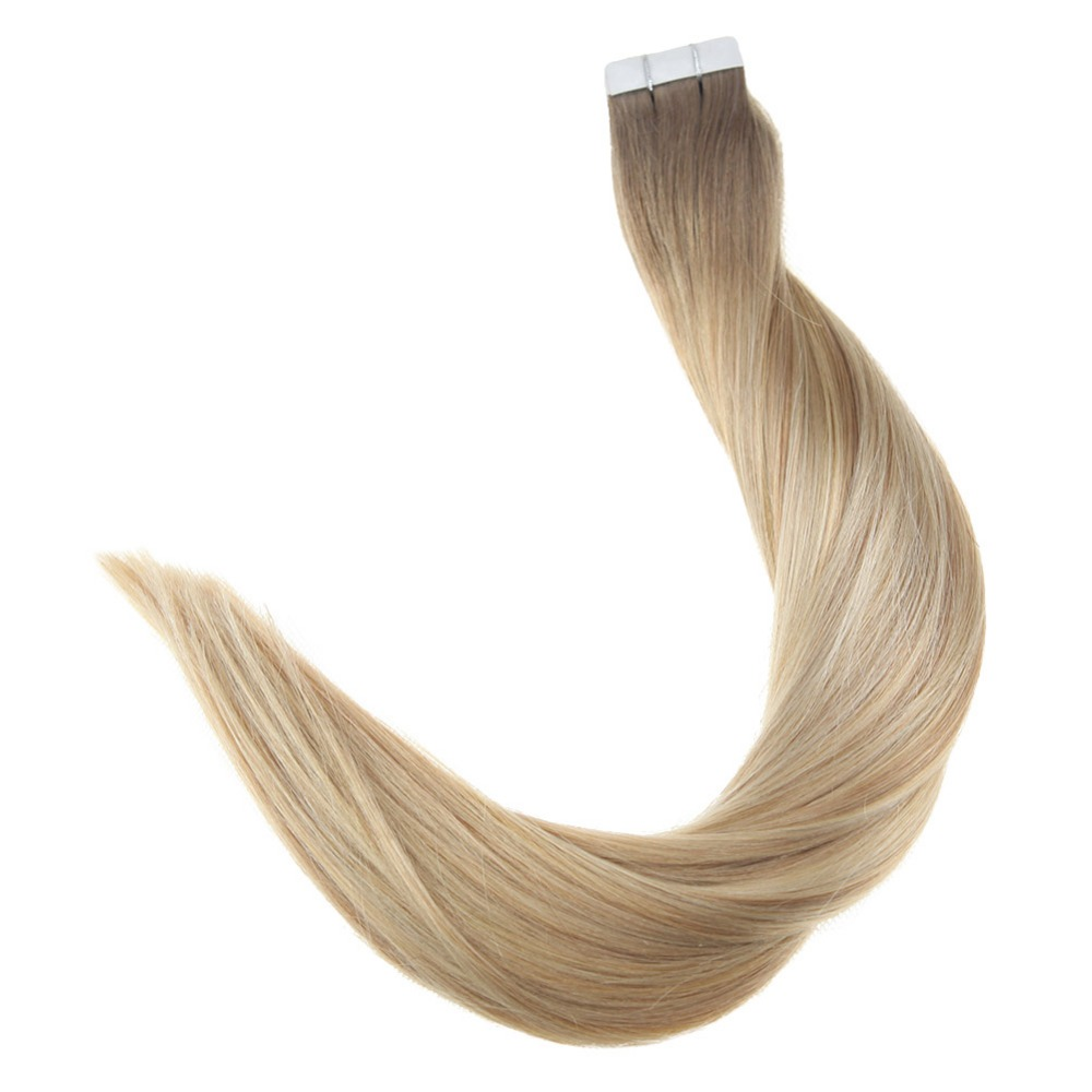 Full Shine Skin Weft Tape In Human Hair Extensions Balayage Color #6/27/6/60 50g 20 Pieces Machine Remy Hair Adhesive Tape Ins