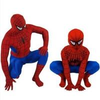 Spandex Traje Zentai Superman Spiderman adultos Cosplay Traje Rojo negro Para Los Hombres