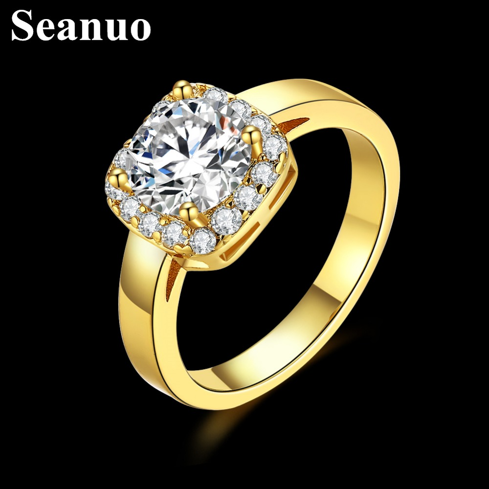 Seanuo Gold Color Exquisite Paved Cubic Zirconia women finger rings fashion Austrian rhinestone silver color lady party ring 6-8