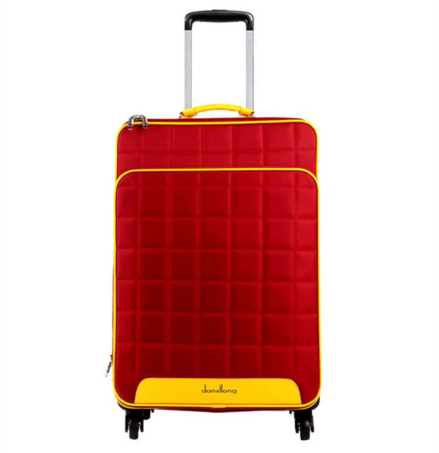 """16 20 24""""inch lovely Red square lattice trolley suitcase bags luggage durable traveller Pull Rod trunk boarding bag Women Girl"""