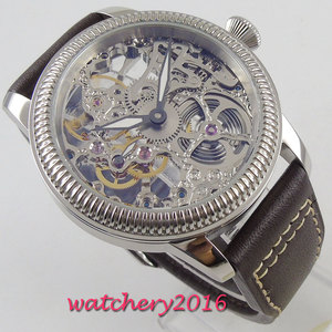 Image 3 - Luxus 44mm PARNIS Hohl herren uhr leucht hände 17 juwelen mechanische 6497 skeleton handaufzug bewegung männer uhr