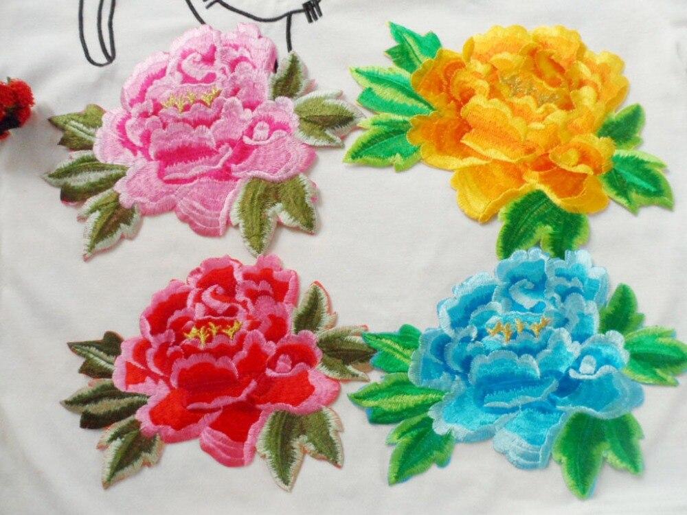 Applique en tulle à coudre fleurs noir//multicolore 120 x 8mm