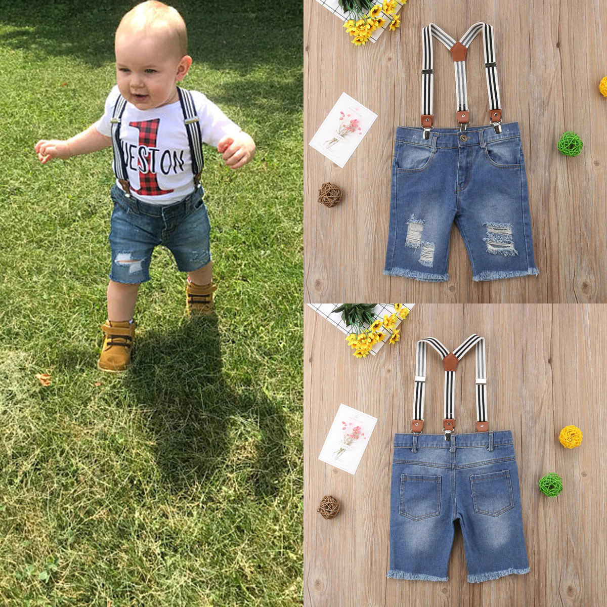 Baby Overalls Suspender Formal Kids Denim Jeans Pants Trousers Fashion Hole