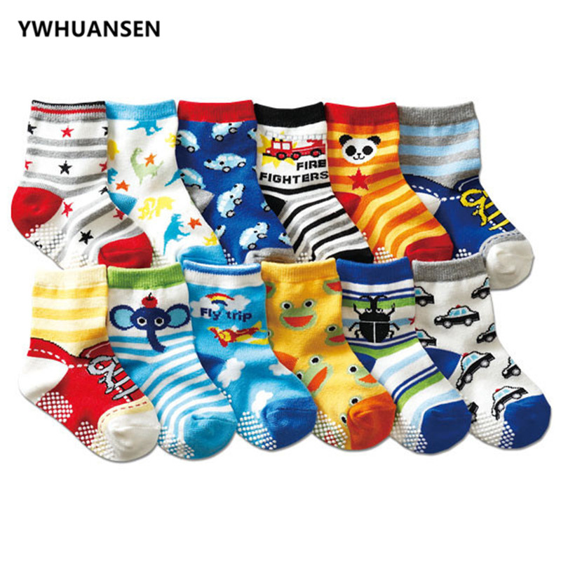YWHUANSEN 0-2 Yrs Anti-slip Baby Socks For Boys Girls Recem Nascido Non-slip Calcetines Baby Socks Newborn Meia Infantil Menino