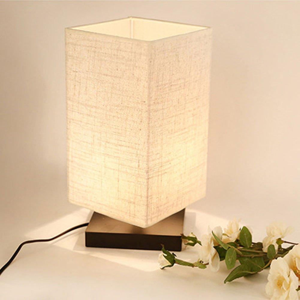 Simple table lamp - Simple Table Lamp Bedside Desk Lamp With Fabric Shade And Solid Wood For Bedroom Dresser Living
