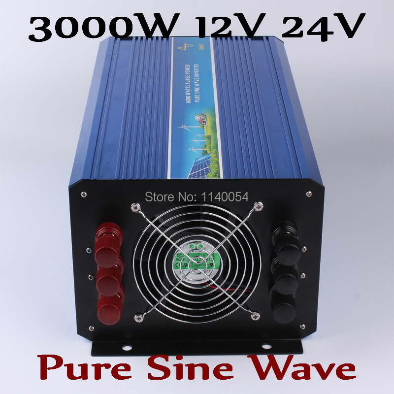 3000W Solar Wind Power System Inverter 12V 24VDC to AC220V or 110V with 6000W Surge Power,Pure Sine Wave 3000W off grid Inverter free shipping 600w wind grid tie inverter with lcd data for 12v 24v ac wind turbine 90 260vac no need controller and battery
