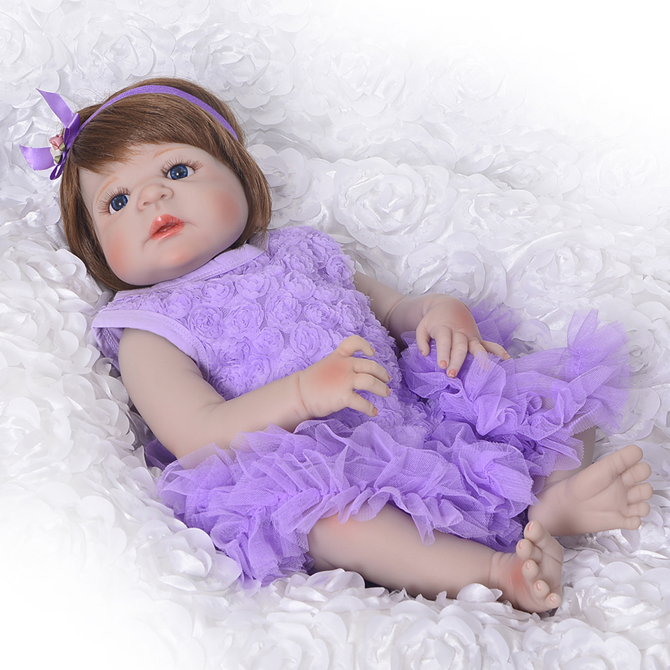 23'' Full Vinyl Body Reborn Baby Dolls Toy Lifelike Princess Girl 57 cm Realistic Alive Baby Doll For Children Bebe Xmas Gifts lifelike american 18 inches girl doll prices toy for children vinyl princess doll toys girl newest design