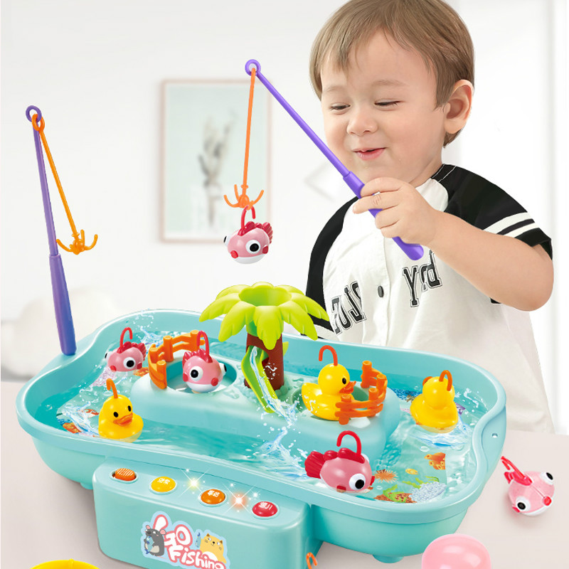 Kids Fishing Toys Electric Water Cycle With Music Lighting Child Model Play Fishing Games Outdoor Toys Fashion Educational Gifts