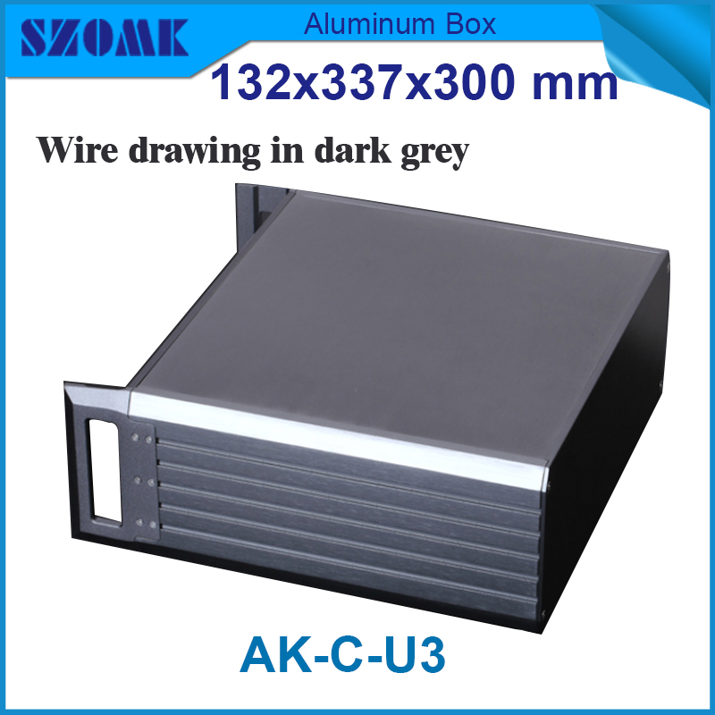 1 piece large junction box electronic enclosure 19 rack junction housing  for power supply132(H)x337(W)x300(L) mm 1 piece free shipping powder coating aluminium junction housing box for waterproof router case 81 h x126 w x196 l mm