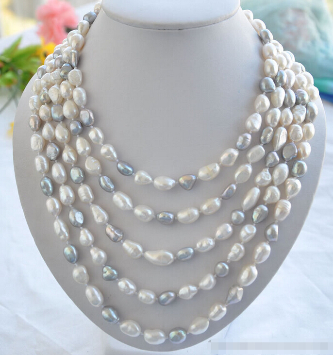 Free shipping@@@@@ Az5727 LONG 13mm white gray baroque FRESHWATER PEARL necklace 100in aFree shipping@@@@@ Az5727 LONG 13mm white gray baroque FRESHWATER PEARL necklace 100in a