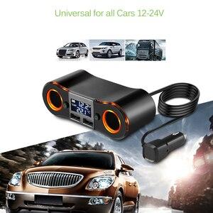 Image 2 - 3.5a 듀얼 usb 차량용 충전기 powstro 담배 라이터 소켓 led 디스플레이 충전기 아이폰 xiaomi 자동차 분배기 전원 어댑터