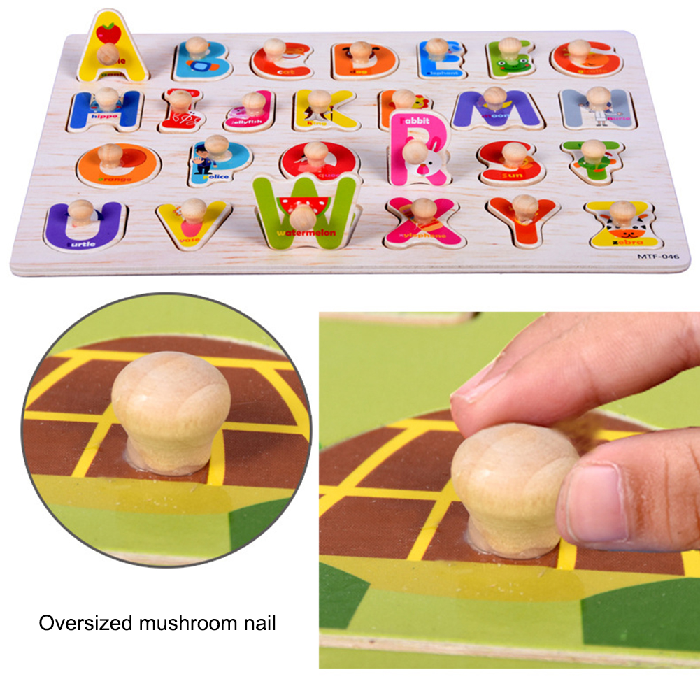 Baby Puzzle Toys Wooden Puzzle Hand Grab Board Alphabet Digit Learning Jigsaw Educational Set Toy 30*22.3*2 Kids Gift