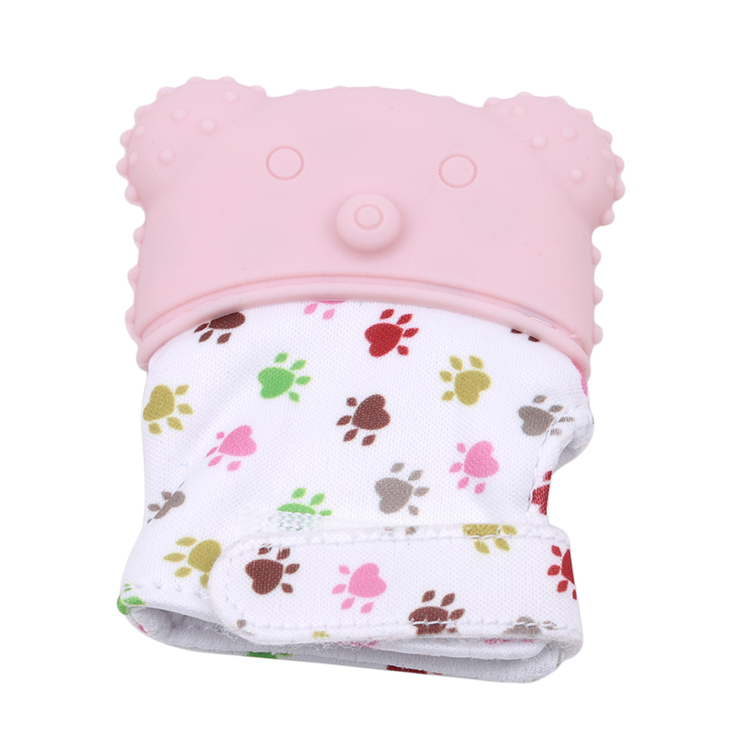 Safe Silicone Baby Teething Mitten Teething Glove Candy Wrapper Sound Teether