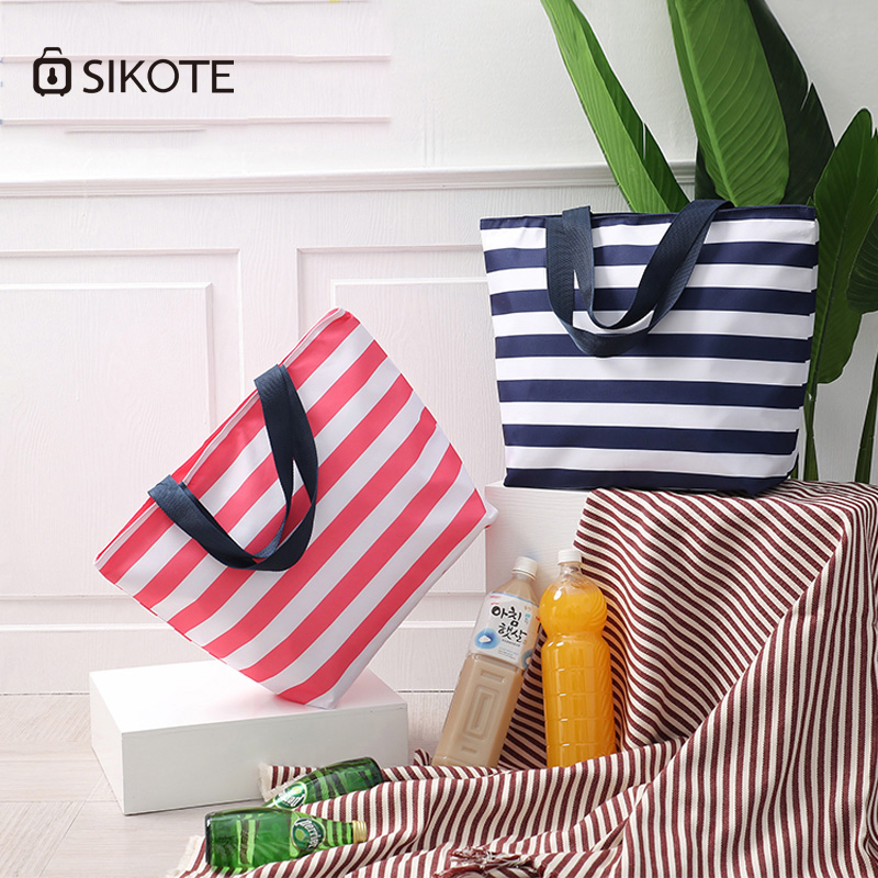 Купить с кэшбэком SIKOTE 11L Oxford Striped Lunch Bags Insulation Bags for Women Kids Men Thermal Stripe Tote Bags Picnic Food Lunch Box Bag