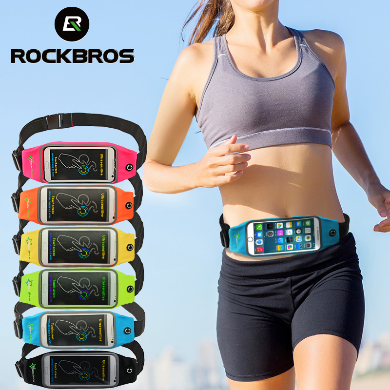 ROCKBROS Cycling Bike Bicycle Waterproof Running Bag Waist Bag Sport Belt Bags 5.8 6 Inch Phone Pouch Case Bag Sport Accessories