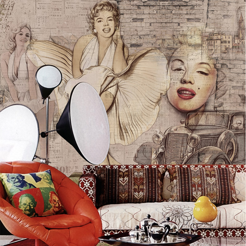 Marilyn Monroe Wallpaper Wall Murals Paper Wall Painting Mural Living Room  Papel Parede Quarto Home Decor Wall Paper 3D In Wallpapers From Home  Improvement ...