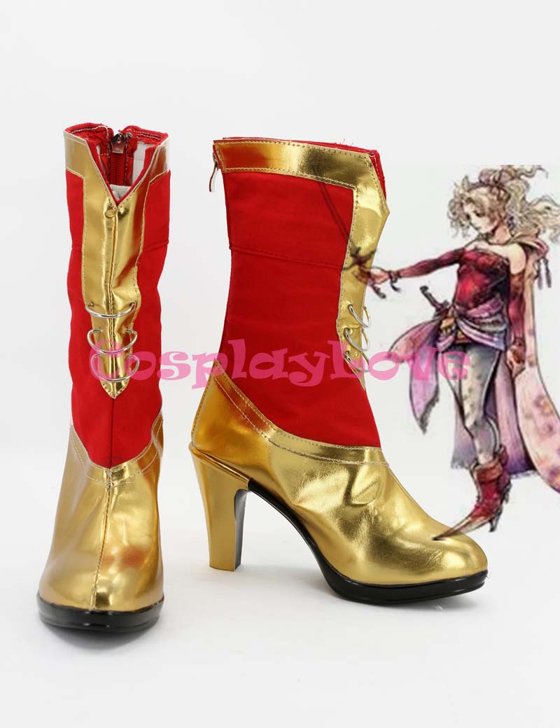 Newest Custom Made Japanese Anime Dissidia Final Fantasy Tina Branford Red Gold Cosplay Shoes Long Boots For Halloween
