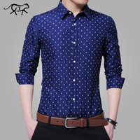 2018 New Shirts Men Printed Fashion Casual Long Sleeved Slim Fit Male Social Business Dress Shirt