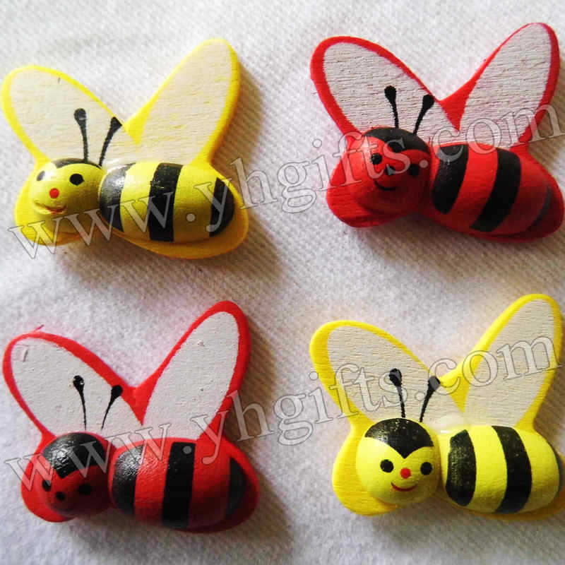 1000PCS/LOT.MIxed color wood honeybee stickers,Easter ornament.Easter crafts,Kids room stickers.Bumble bee sticker,OEM.25x28mm