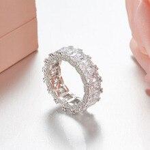 SLJELY 925 فضة لامع كامل ساحة زركون كريستال خواتم الاصبع النساء الزفاف الفاخرة العلامة التجارية تصميم مجوهرات