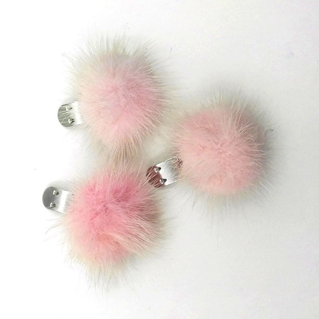 GZhilovingL Special Genuine Mink Fur Pom pom shoes Clip Fashion Winter Women Hats Accessories Fur Clothing Hair Band Accessories