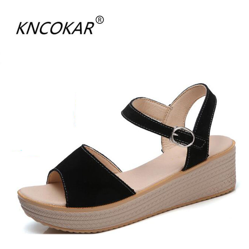 KNCOKAR 2018The new summer ladies are fashionable and comfortable, with pure color sloping heels and anti-skid high-heeled sandaKNCOKAR 2018The new summer ladies are fashionable and comfortable, with pure color sloping heels and anti-skid high-heeled sanda