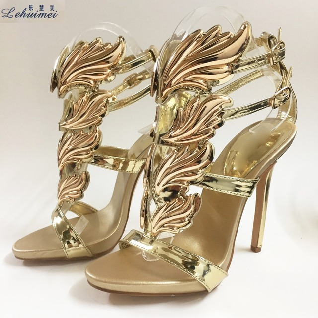 New Arrival Hot sell women high heel sandals gold leaf flame gladiator  sandal shoes party dress shoe woman patent leather Gold 2bb89fa51862