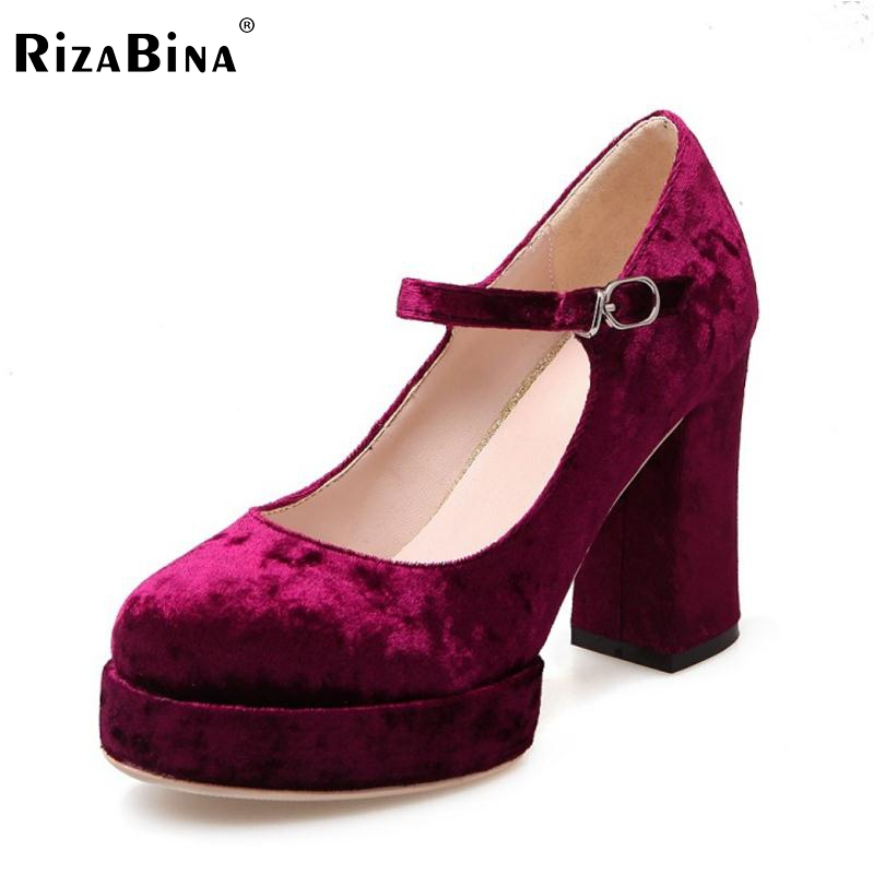 RizaBina Brand Women High Heels Platform Stilettos Black Pumps Vintage Ankle Strap Sexy Ladies Party Shoes Women Size 33-43 2014 sexy women s pumps 20cm ultra high heels platform party dance shoes pumps 8 inch ankle strap crystal shoes free shipping