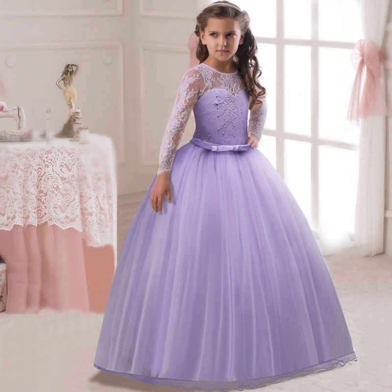 Long Sleeve Flower Girl Dress For Wedding Lace Princess Kids Dresses for Girls Dresses for Party and Wedding Tulle Toddler Dress 2017 spring girl lace princess dress 2 14y children clothes kids dresses for girls long sleeve baby girl party wedding dress