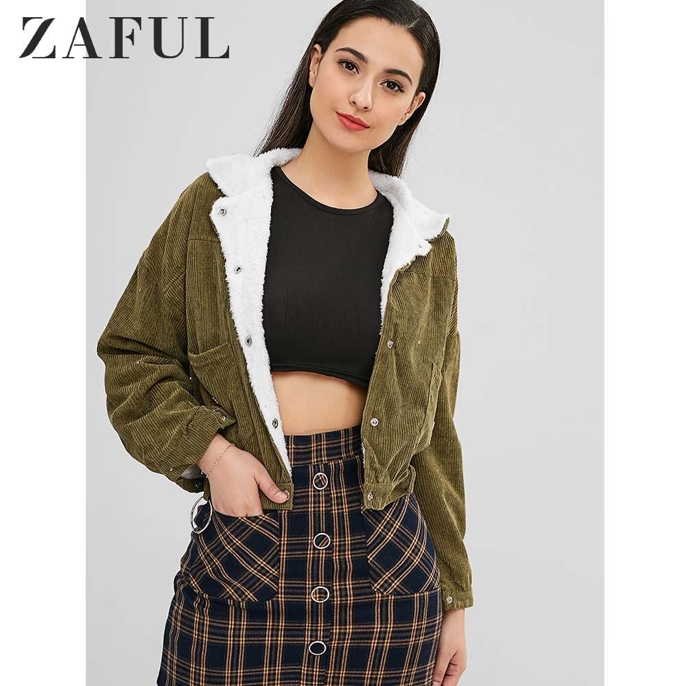 99858cfc0 ZAFUL PANA Snap Button Up chaqueta de piel de oveja mujer abrigo Outwear  Otoño Invierno chaquetas abrigos metálicos anillo Top ropa de abrigo 2018