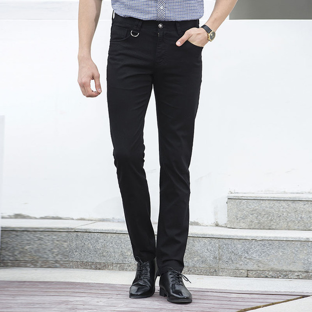 b23dd849db2e High Quality 2018 Winter Classic Black Casual Pants Men Slim Fit Long Suit  Trousers Male Chinos Denim Cotton Dress Pants