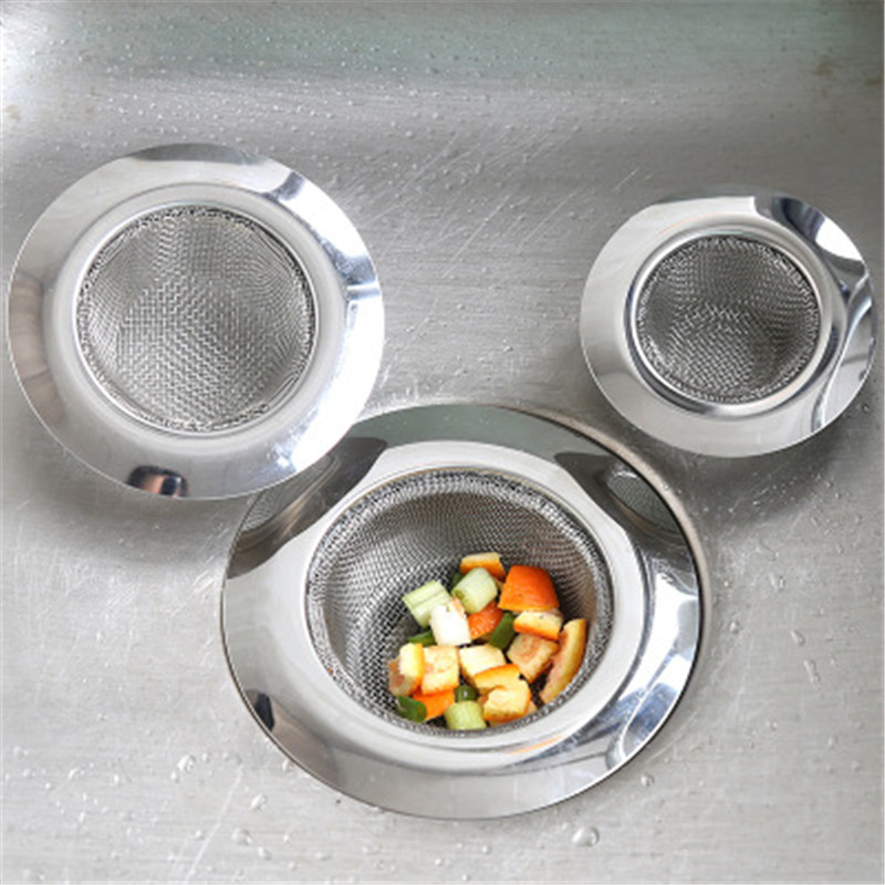 3Size Stainless Steel Sink Filter Hair Catcher Stopper Bathroom Sink Sewer Drainage Anti-Blocking Net Faucet Bathroom Accessory