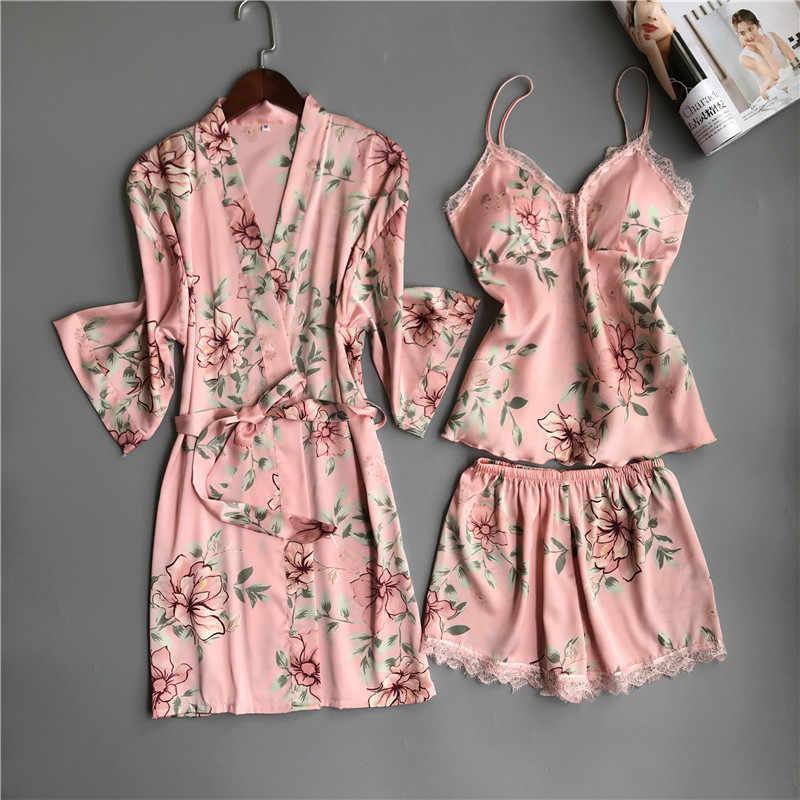 e754494388dc Satin Pajamas For Women Floral 3Pieces Sleepwear Female Sexy Lace At All  Seasons Silk Pajamas Set