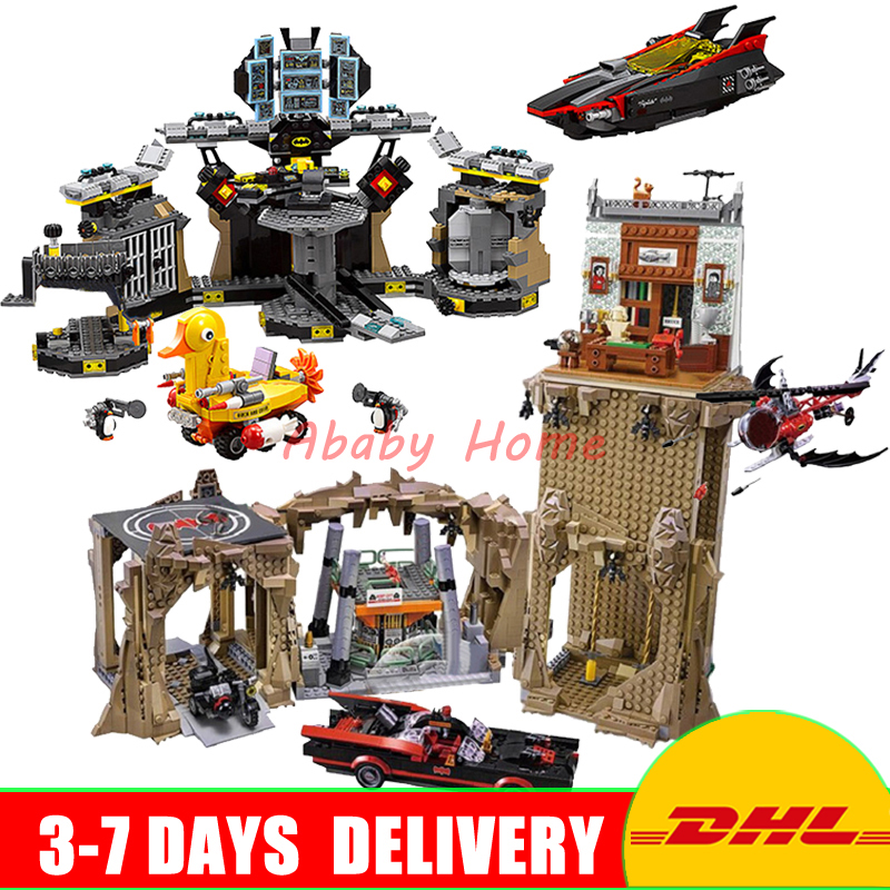 2018 DHL Lepin 07052 The Batcave Break-in +07053 Batman Classic TV Series-Batcave Building Blocks Bricks Toys Clone 70909 76052 lepin 07052 1047pcs super heroes batman batcave break in diy model building blocks gifts batgirls movie toys compatible 70909