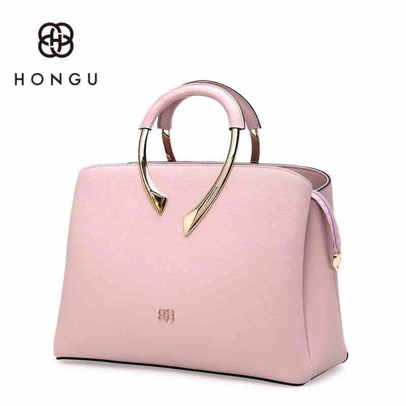 HONGU Famous Design Women Handbags Shoulder  Versatile Bags Tote Cowhide Genuine Leather Bags Embossed Boston 2018 New Fashion