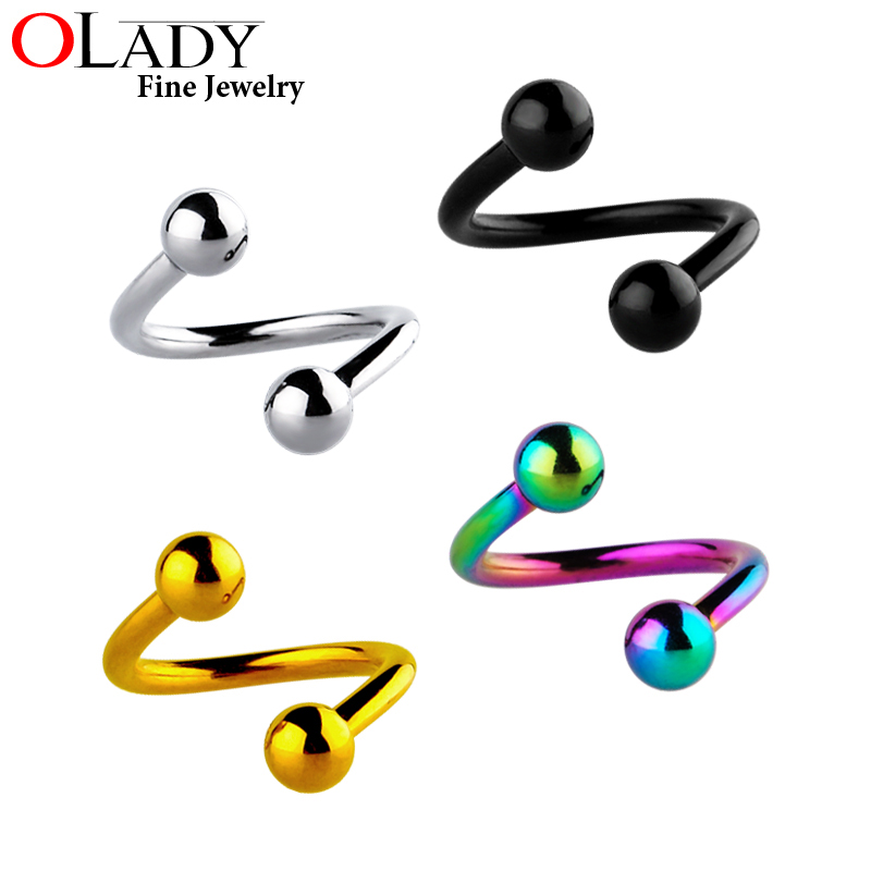 Spiral Twisted Cartilage Rings 100% [Titanium G23] Ear Lip Piercing smycken labret kropps smycken
