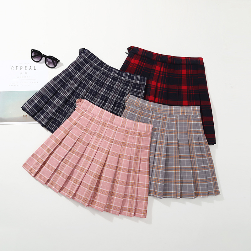 2018 Children's wear new Korean version, girls' lattice half skirt, summer baby waist skirt girls letter print tee with tie waist gingham skirt