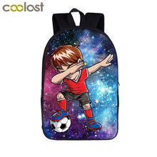 eafb43a36bea Funny Dab Galaxy Foot Ball Boys Children Backpack Male Bag Student School  Bag Starry Backpack for Teenagers Boys Laptop Bags
