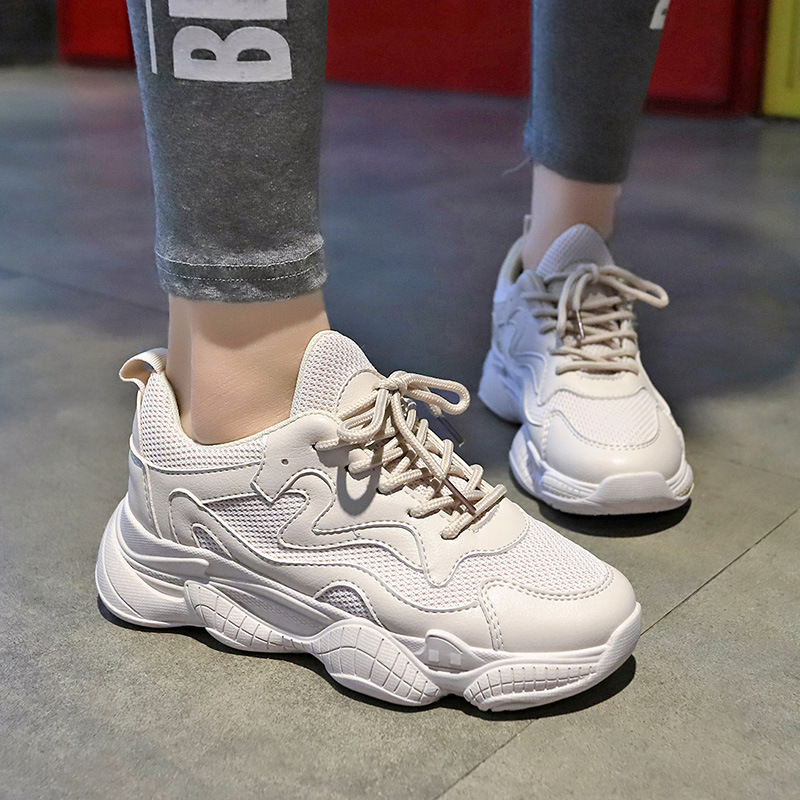 LZJ Spring And Autumn Comfy Breathable Mesh Trainers Chunky Heels 5cm Women's Platform Sneakers Women Shoes Casual Female Shoes