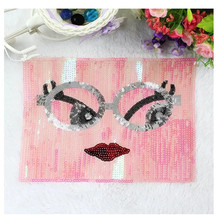 Large sequins embroidered square glasses smiley cloth stickers clothes repair diced clothing diy accessories decoration