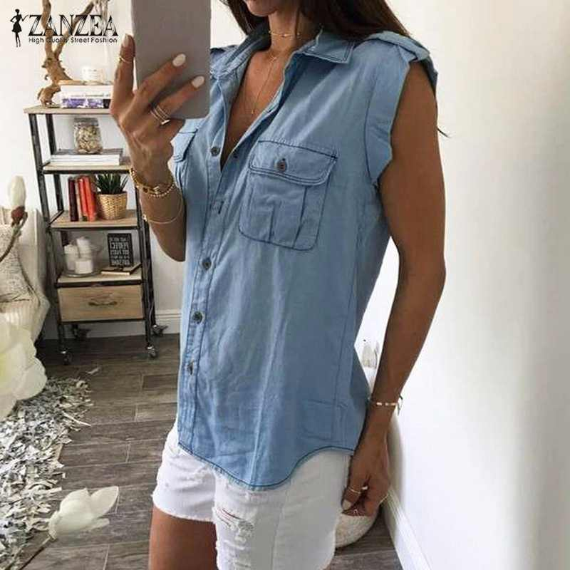 d6e717f6151 Women Denim Blue Shirts 2018 Summer Vintage Buttons Pockets Blouses Sexy  Ladies Sleeveless Jeans Casual Blusas