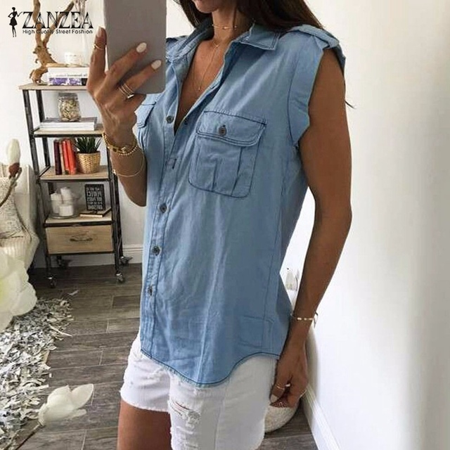 33dc1fa6a76f55 Women Denim Blue Shirts 2018 Summer Vintage Buttons Pockets Blouses Sexy  Ladies Sleeveless Jeans Casual Blusas