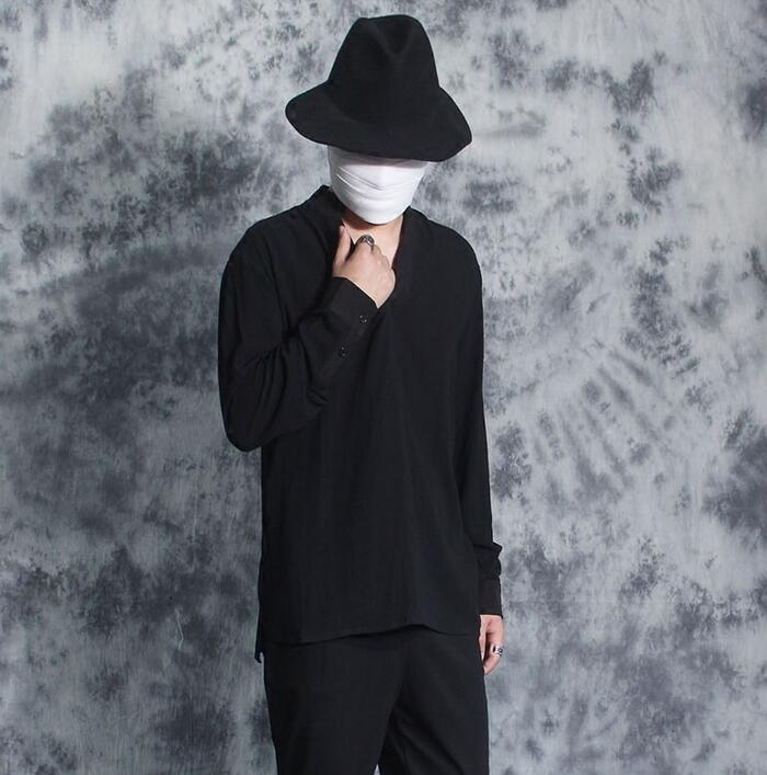 Autumn winter V collar fashion punk slim sexy shirt men long sleeve shirt teenage korean T shirt mens personality black