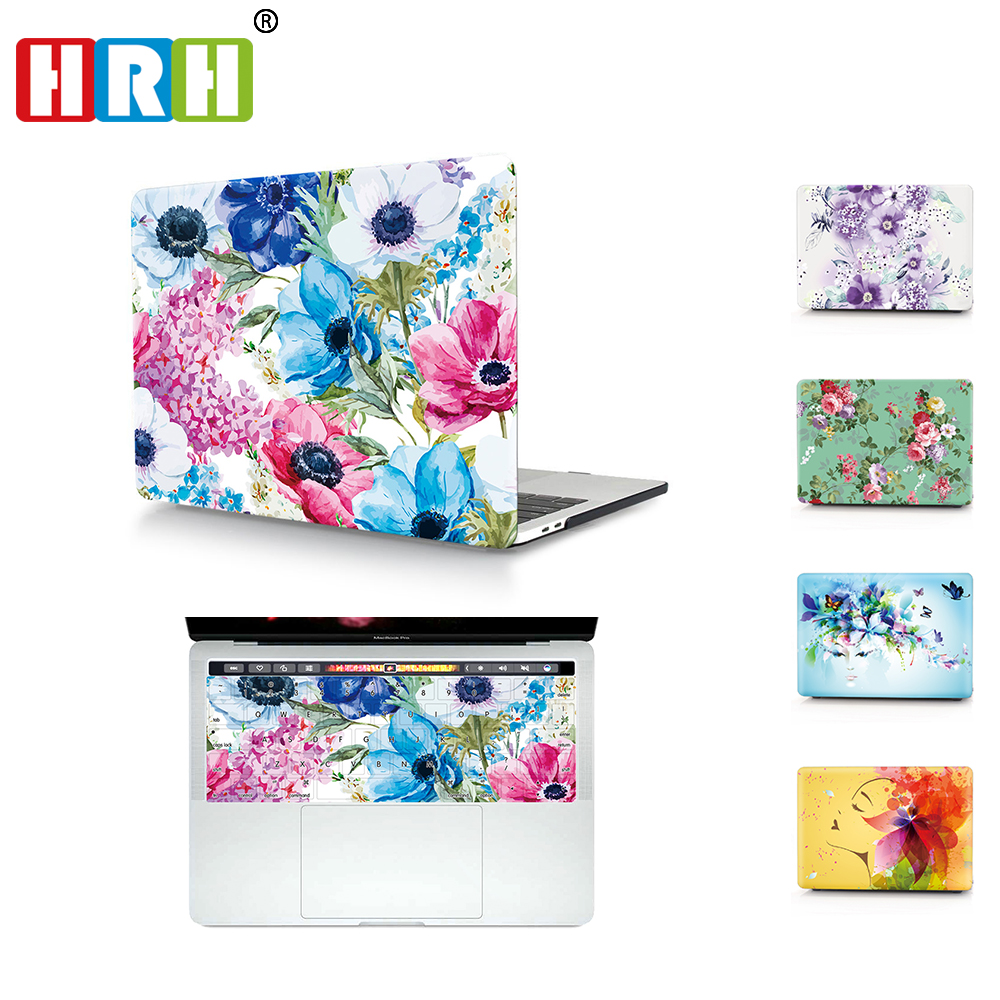 HRH 2 In1 Flower Laptop Body Shell Protective Hard Case Matching TPU Cover for MacBook Air Pro Retina 11 12 13 15 with Touch Bar