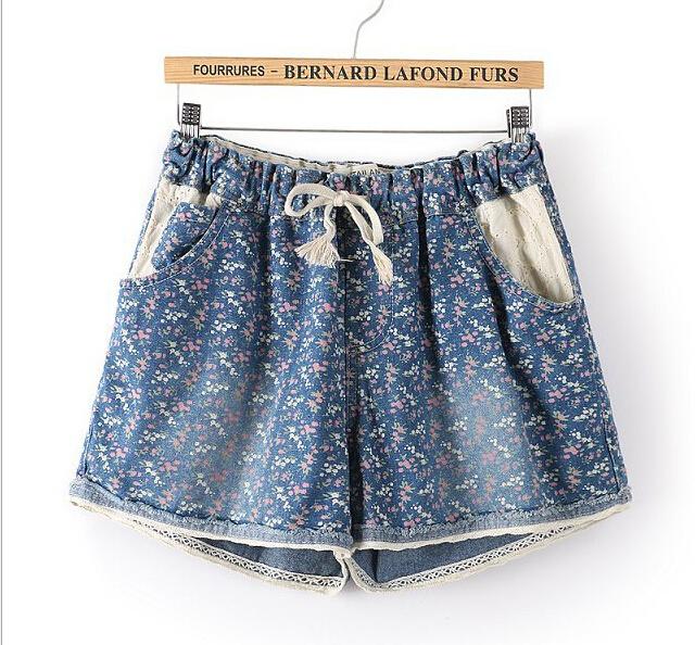 2015 mulheres shorts jeans verão calças de brim shortseuropean mais elástico na cintura rendas denim impresso shortxxxl xxxxl5XLgirls calções de impressão