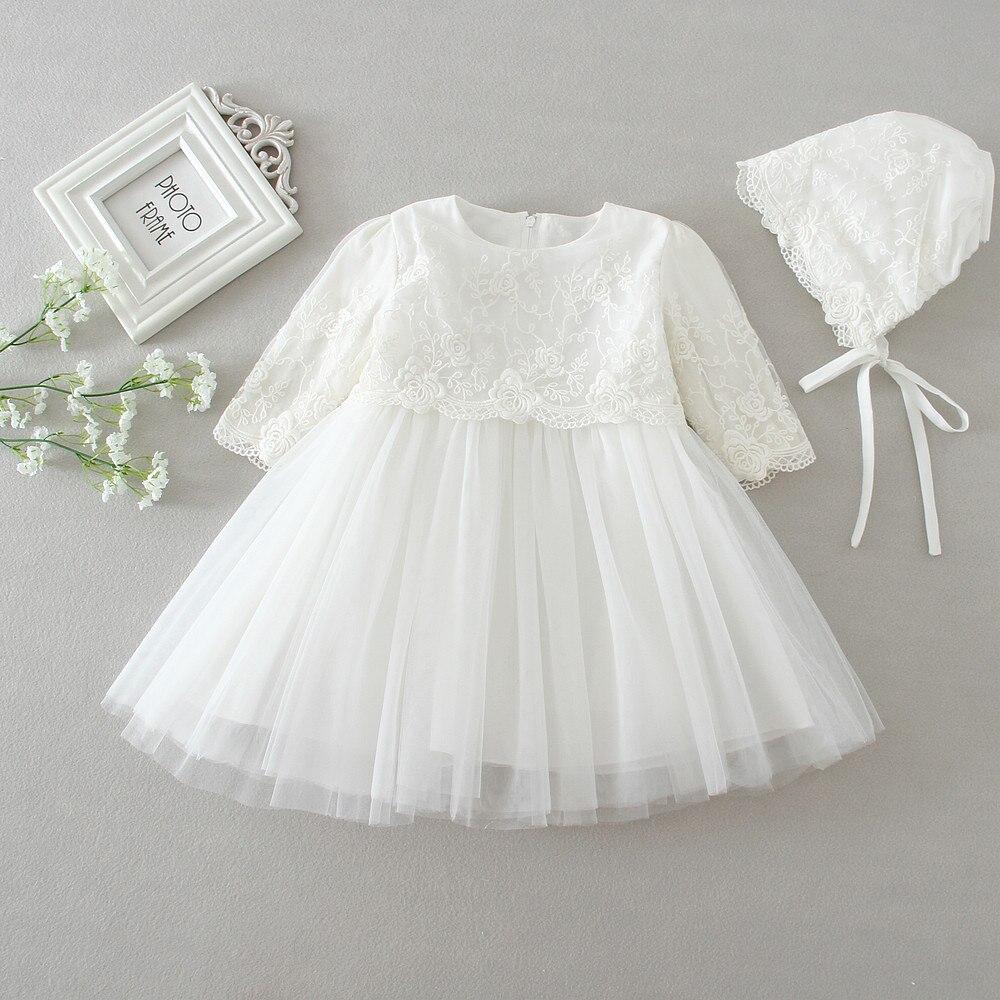 Toddler Dress Baby Girl White Baptism Gown Infant Newborn Christening