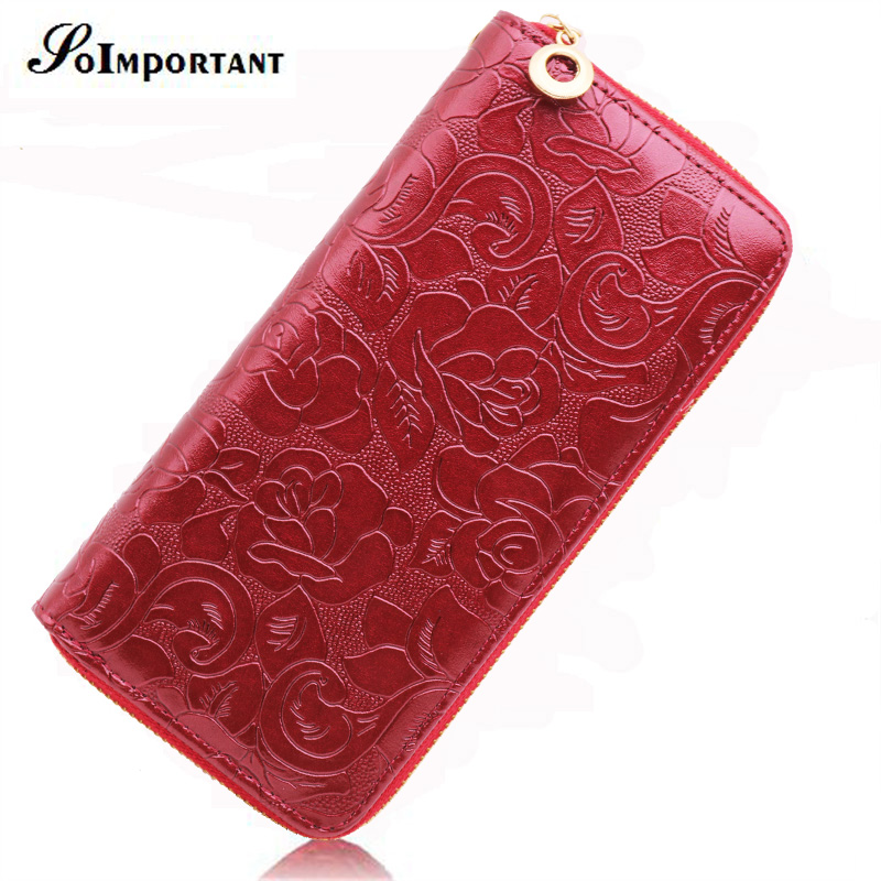 Floral Print Wallet Female Leather Purses Women Wallets Rose Flowers Luxury Brand Zipper Long Wallet Card